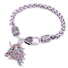 bracelet color crystal images Skyrim color crystal unicorn charm bracelet jewelry wheat chain jpg