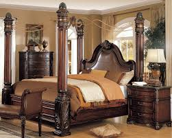dark brown wood carving canopy bed frame with leather headboard