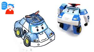 kid car drawing robocar poli police car drawing for kids with robocar poli robot