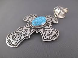 silver turquoise pendant necklace images Cross pendant with turquoise happy piasso cross pendant jpg