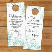 wedding gift bags for hotel classic swirl door hanger for wedding hotel welcome bag do not