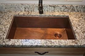 copper under mount sink with rear corner drain