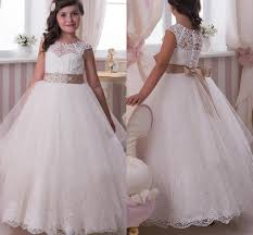 lace flower dresses princess white champagne ribbon trim bow