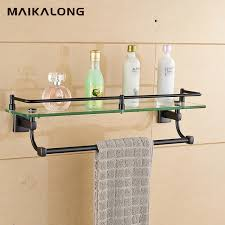 Bathroom Glass Shelves With Towel Bar Bathroom Glass Shelf Wall Mount With Towel Bar And Rail Black