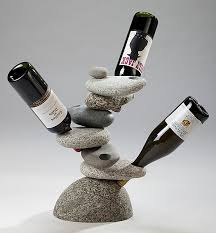 funky rock wine rack at art glass by gary gallery