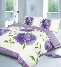 Lilac Bedding Sets Rosaleen Printed Duvet Quilt Cover Bedding Set Lilac Linens Range