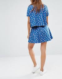 light blue skater skirt noisy may watermelon print denim skater skirt light blue women