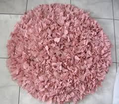 ooak hand crochet shag rag rug pink shag rug round by madeofflaws