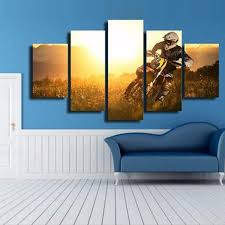 Posters For Living Room by Aliexpress Com Buy 5 Panels Canvas Prints Motocross Multi Panel