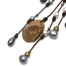 stone leather necklace images Aobei pearl handmade necklace pearl necklace leather necklace jpg