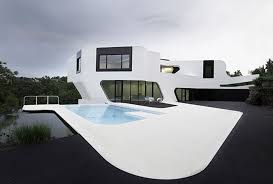 contemporary residence with futuristic design in germany pool