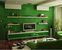 Green Striped Wallpaper Living Room Living Room Green Wall Grey Sofa White Sofa Cushion Wooden Coffee