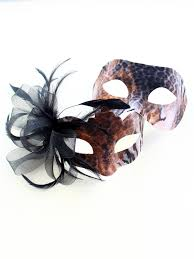 couples masquerade masks s bronze animal print masquerade mask