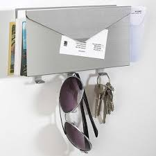 Mail And Key Holder Mail Organizer And Key Rack Brushed Aluminum In Mail Organizers