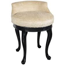 Vanity Stools And Chairs 1940s Hollywood Swivel Vanity Stool In Faux Lambs Wool And