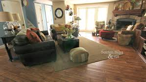 golden boys and me our fall family room family room with corner stone fireplace and leather furniture www goldenboysandme com