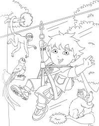 diego swings monkeys diego coloring netart