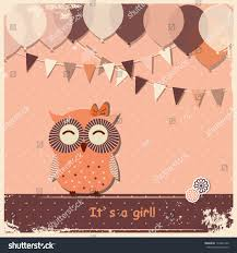 vintage owl baby shower invitations vintage background cute owl happy birthday stock vector 174433160