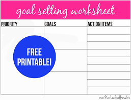 goal setting worksheet template pinspired home make it happen 10 free printables to help you