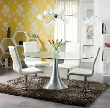 dining room lovely white floral on yellow dining room wall