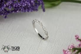 vintage style wedding band deco wedding band 1 5mm engagement ring half eternity band