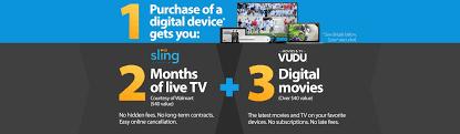 sling tv vudu walmart purchase a digital device get 2 months