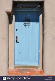 old door in adobe style house in albuquerque new mexico usa