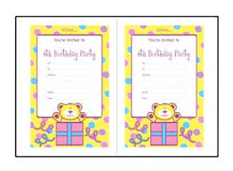 birthday party invitation templates for 4 year old 4th birthday