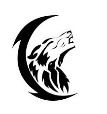 image black crescent moon and tribal wolf howl tattoos jpg the