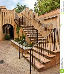 a staircase in spanish colonial style architecture royalty free
