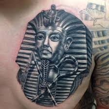 black and grey pharaoh portrait by nate beavers tattoos