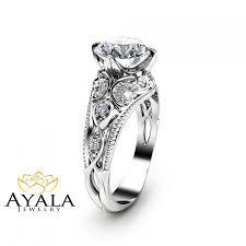 2 carat diamond engagement ring unique 14k white gold ring