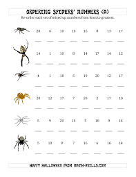 Halloween Math Printables Ordering Halloween Spiders U0027 Number Sets To 20 A