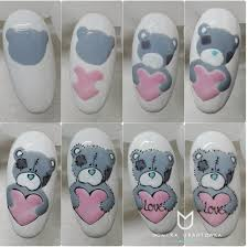 stepbystep nails love valentines cute teddy nailsoftheday