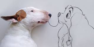 dog owner draws his bull terrier into the kind of adventures a dog