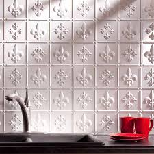 fasade backsplash fleur de lis in matte white