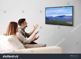 Technology At Home Family Watching Television Home Leisure Entertainment Stock Photo