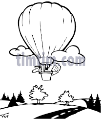free drawing of air balloon bw from the category trains