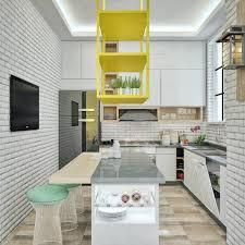 Gray And Yellow Kitchen Ideas by Kitchen White Exposed Brick Wall Scandinavian Kitchen Yellow