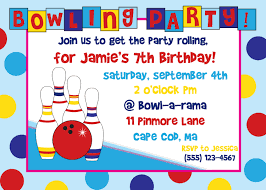 Invitation Cards Birthday Party Bowling Birthday Party Invitations Kawaiitheo Com