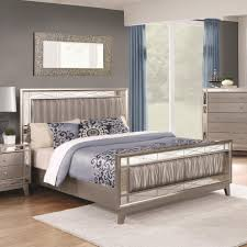 Bedroom Set Plus Mattress Leighton Collection 204921 Mirrored Panel Transitional Design With