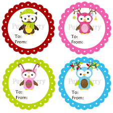 owl christmas gift tag stickers red pink green and blue