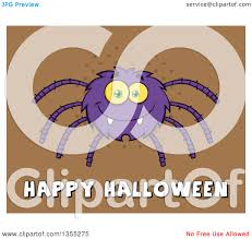 clipart of a cartoon purple spider over happy halloween text on