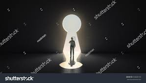 Keyhole Doorway by Businessman Goes Through Keyhole 3d Rendering Stock Illustration