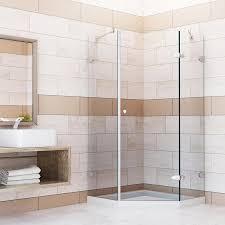 vigo shower door installation shop vigo verona 40 in to 40 in frameless chrome hinged shower