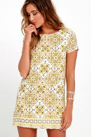 print dress print dress shift dress yellow dress 48 00