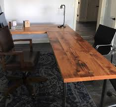 Office Desk Woodworking Plans L Shaped Desk Reclaimed Wood And Steel For Incredible Home Corner