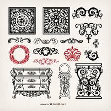 vintage furniture and ornaments vector free