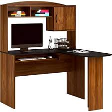 Amazoncom Corner L Shaped Office Desk with Hutch Black and Alder