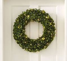boxwood wreath indoor outdoor lit boxwood wreath pottery barn